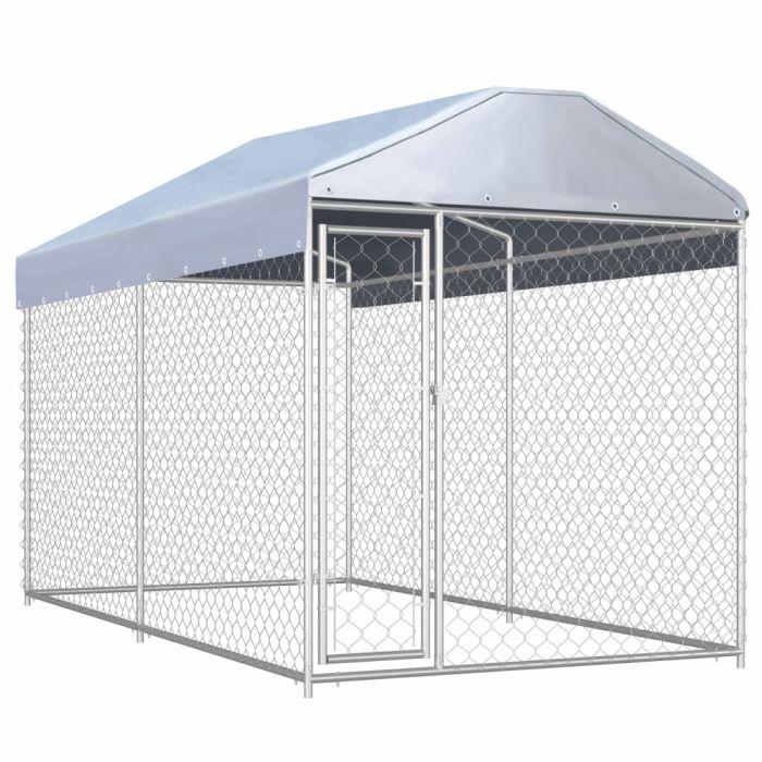 Дворна клетка за кучета с покривен навес