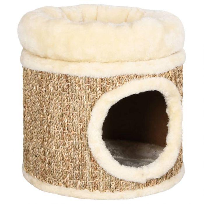 Котешка къща с възглавница лукс 33 см морска трева