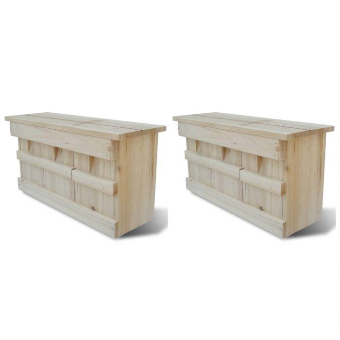 Къщички за врабчета 2 бр дърво 44x15