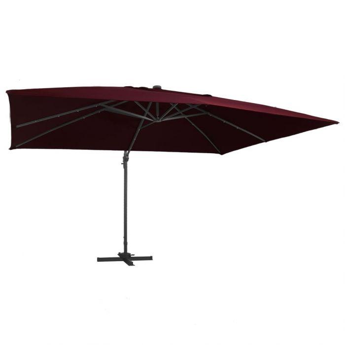 Чадър с чупещо рамо и LED лампи бордо червен 400x300 см