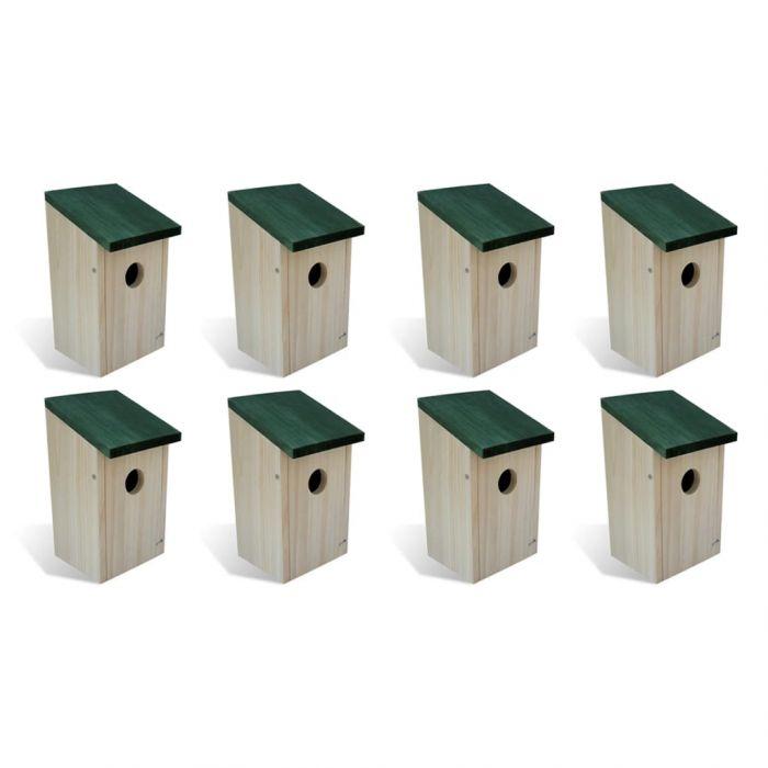 Къщи за птици, 8 бр, дърво, 12x12x22 см