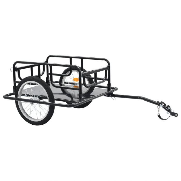 Товарно ремарке за колело, 130x73x48,5 см, стомана, черно