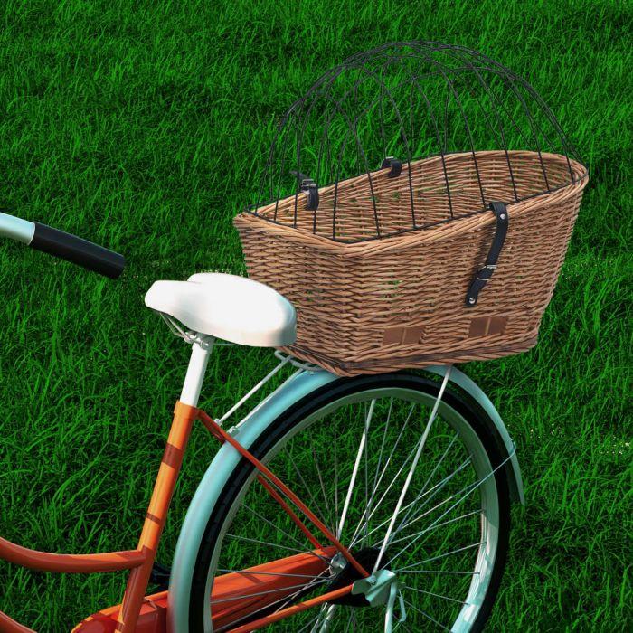 Задна кошница за колело с капак, 55x31x36 см, естествена върба