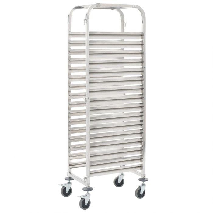 Кухненска количка за 16 табли 38x55x163 см инокс