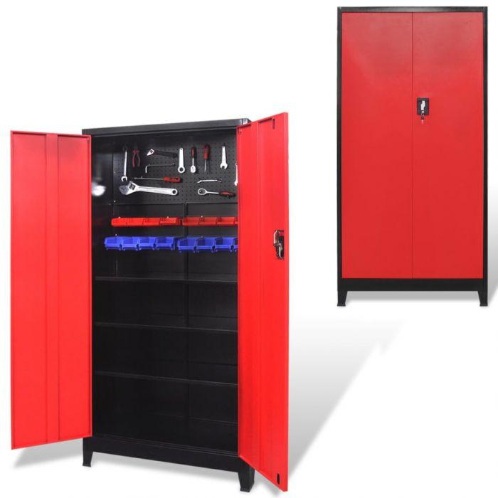 Шкаф за инструменти с 2 врати, стомана, 90x40x180 cм