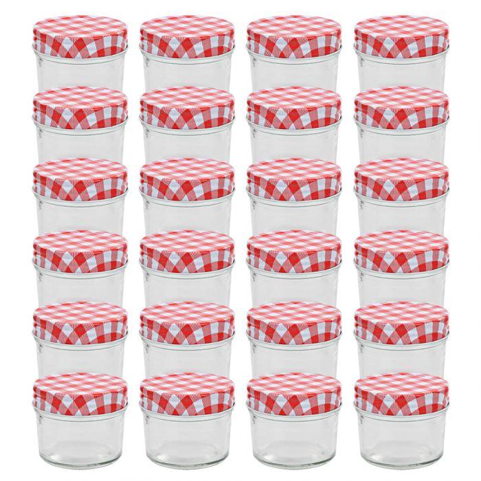 Стъклени буркани за сладко с бяло-червени капачки 24 бр 110 мл