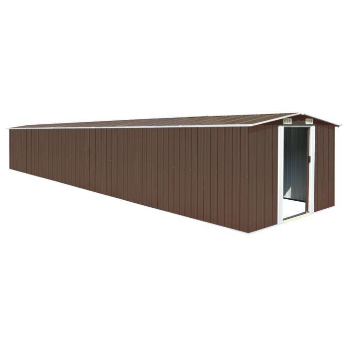 Градинска барака, кафява, 257x779x181 см, поцинкована стомана