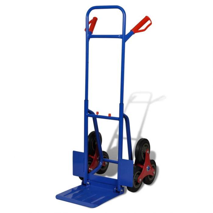 Сгъваема товарна количка с 6 колелца, синя
