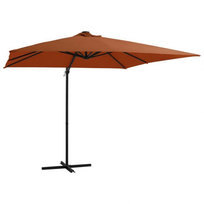 Градински чадър с LED осветление