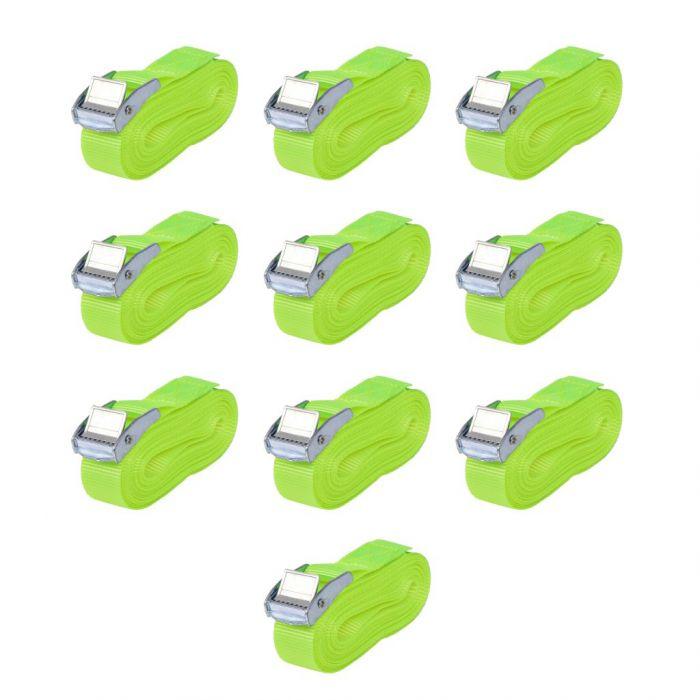 Ремъци, 10 бр, 0,25 тона, 5mx25mm, флуоресцентно зелено