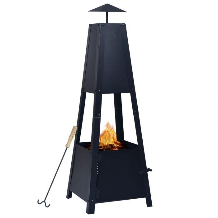 Преносимо огнище, черно, 35x35x99 см, стомана