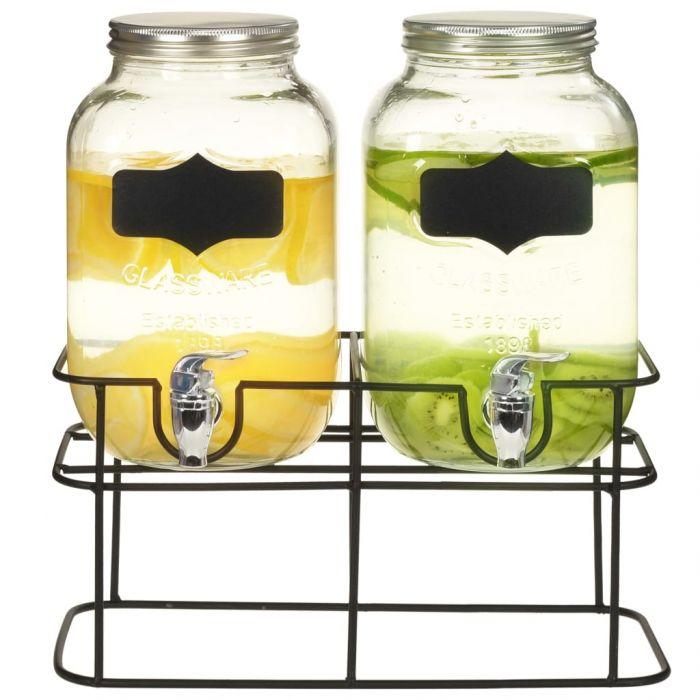 Комплект диспенсъри за напитки, 2 бр със стойка, 2x4 л, стъкло