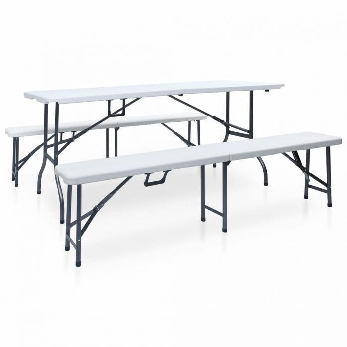 Сгъваема градинска маса с 2 пейки, 180 см, стомана и HDPE, бяла
