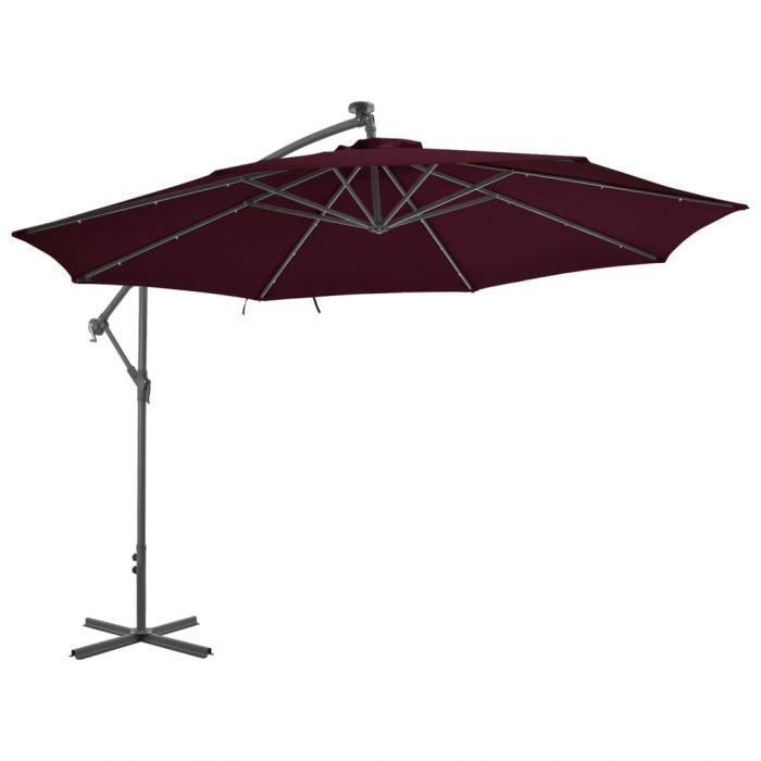 Градински чадър с LED осветление стоманен прът виненочервен
