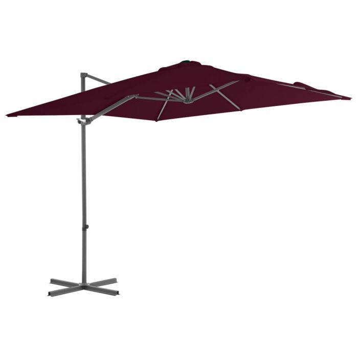 Градински чадър чупещо рамо и стоманен прът бордо 250x250 см