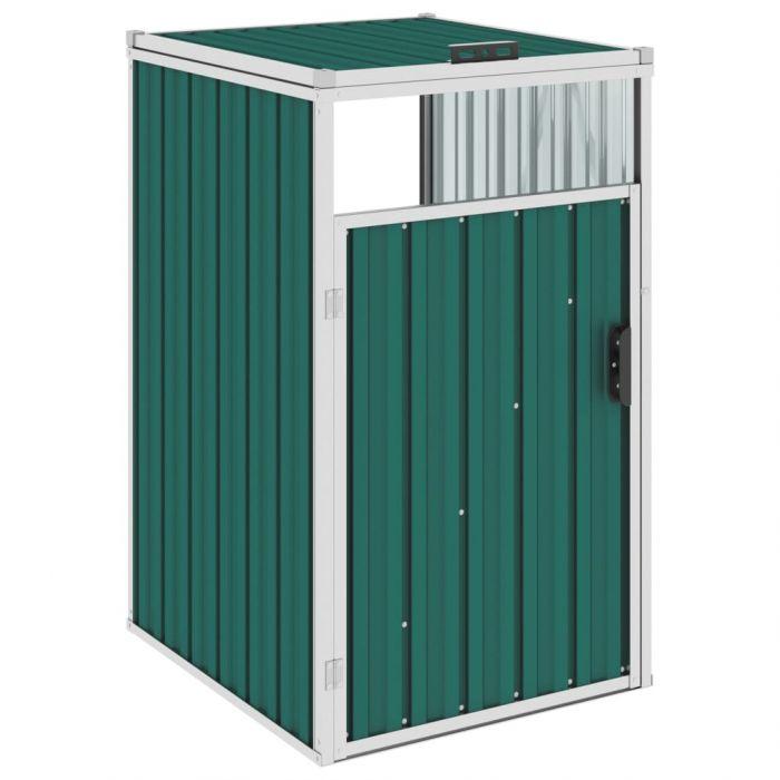 Навес за кофа за боклук зелен 72x81x121 см стомана