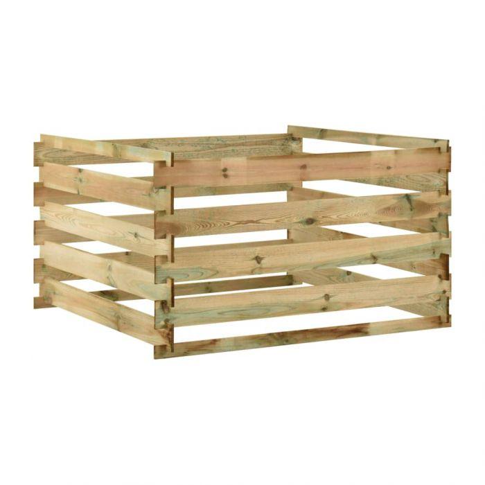 Градински ламелен компостер, 120x120x70 см, импрегниран бор