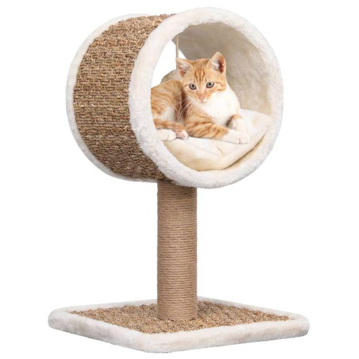 Котешко дърво с горен тунел и играчка, 56 см, морска трева