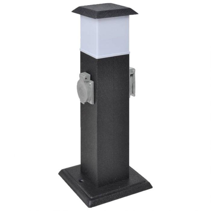 Черна градинска колона с контакт и лампа