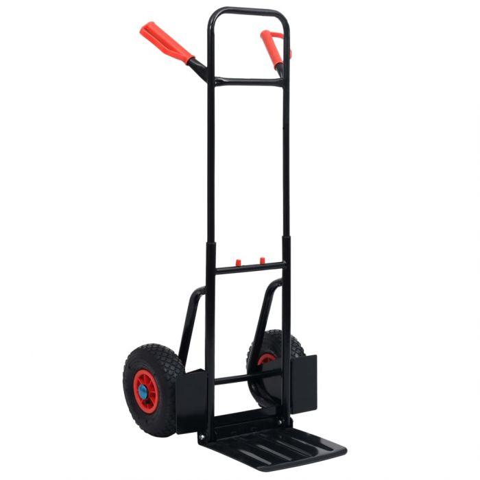 Телескопична ръчна количка, 200 кг, черно и червено