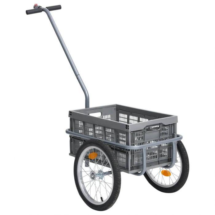 Ремарке за велосипед с 50 л сгъваема товарна кутия сиво 150 кг