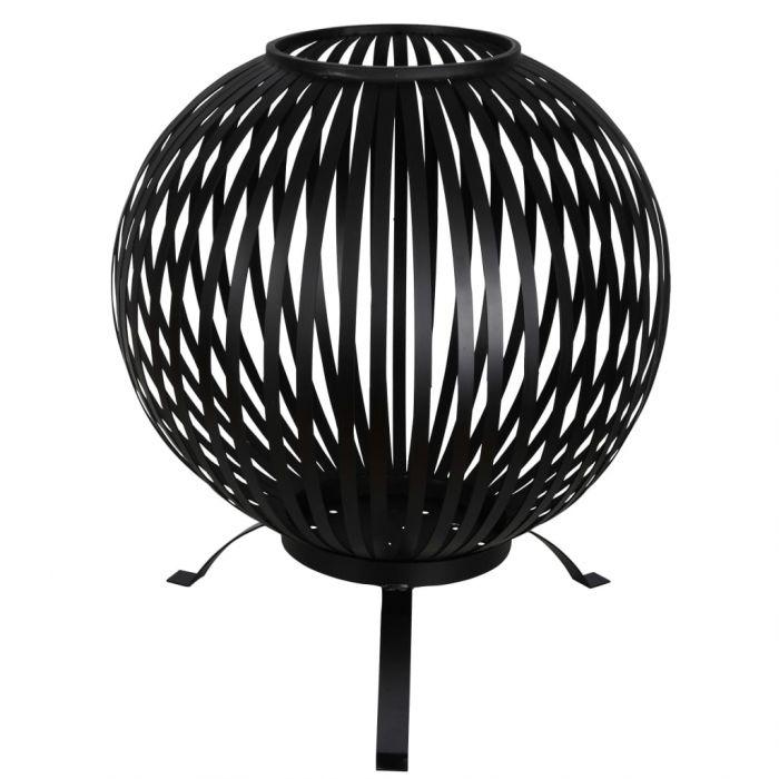 Esschert Design Кръгло огнище, ивици, черно, въглеродна стомана, FF400