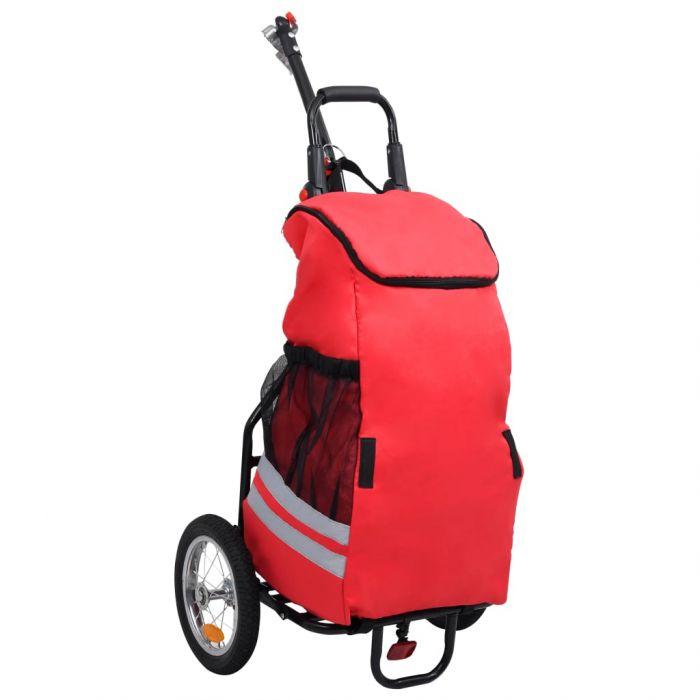 Сгъваемо ремарке за велосипед с пазарска чанта червено и черно