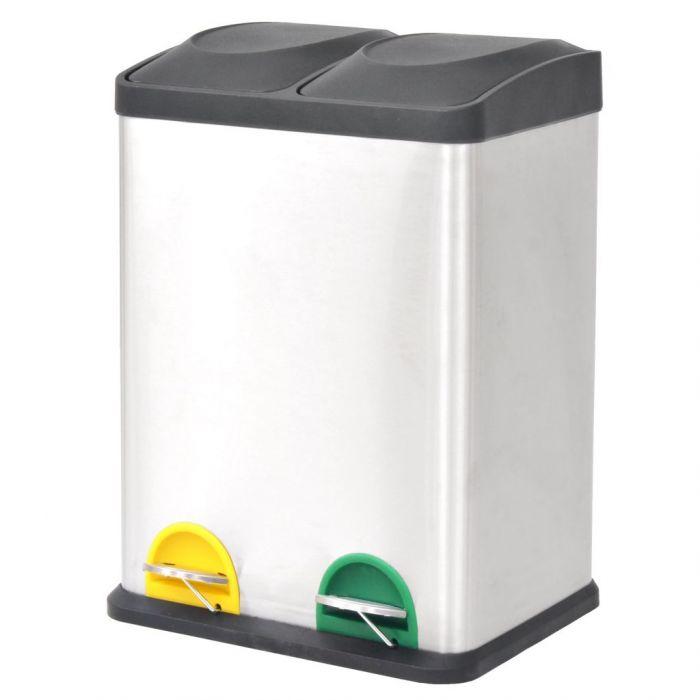 Кош за рециклиране на боклук с педал неръждаема стомана 2x18 л